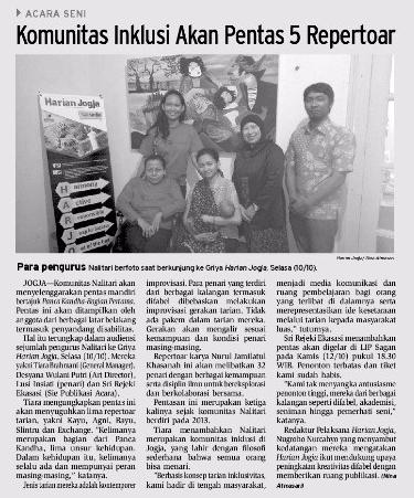 Liputan Nalitari di Harian Jogja (11 Oktober 2017)
